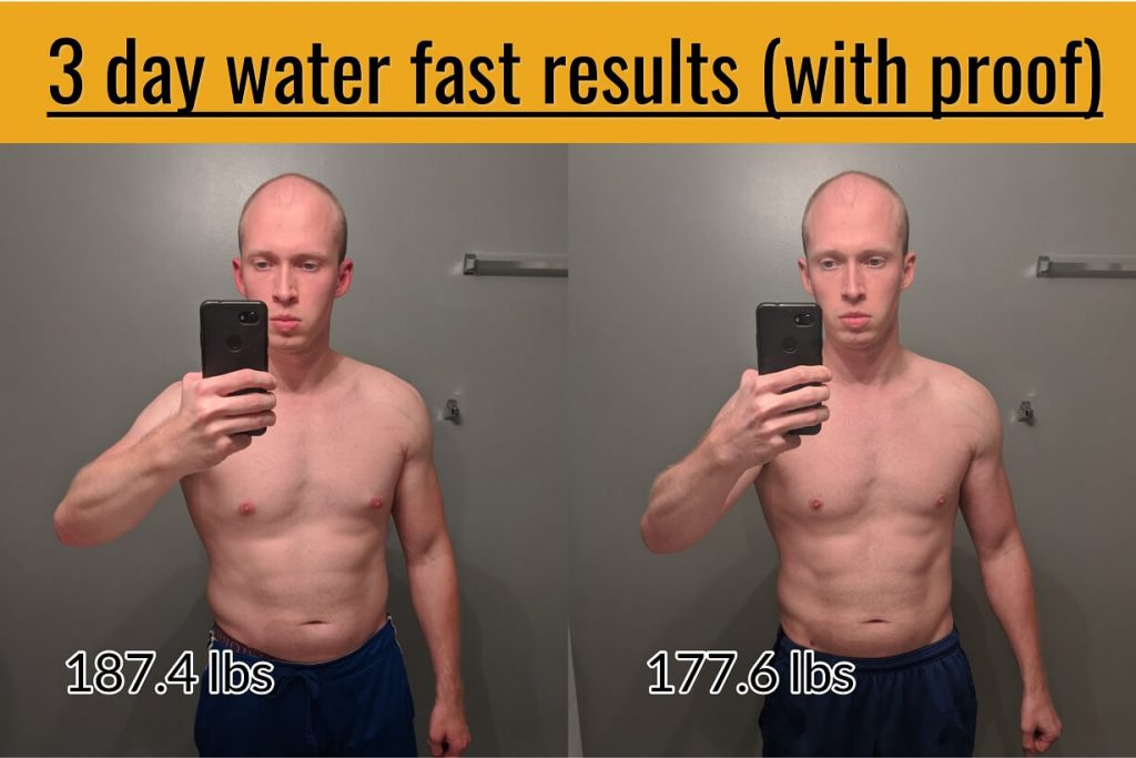 3 day 72 hour water fast before and after weight loss results